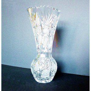 Vintage Lead Crystal Vase w Sawtooth Rim 13 inch